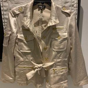 Bebe Beige Shiny Jacket with Detail